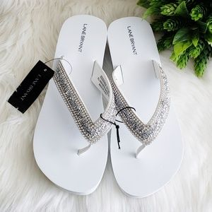 Lane Bryant Flip Flop Sandals White Bling 9/10 NWT